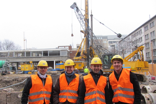The FAUST team at the Bühnen Köln construction site in Cologne, November 15th, 2012 - Dipl.-Ing. Johannes Wimmer, me, Prof. Dr.-Ing. André Borrmann, Dipl.-Ing.  Tim Horenburg (from left to right)